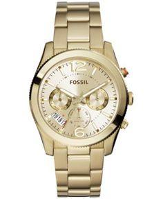 Fossil Women's Perfect Boyfriend Gold-Tone Stainless Steel Bracelet Watch 40mm ES3884    macys.com