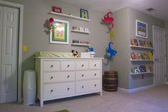 big dresser, changing station, and shelves