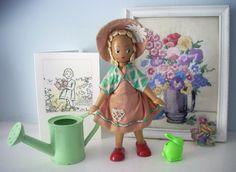 Gardening Gertie - Vintage Polish Wooden Doll http://www.millyanddottie.com/userimages/procart5.htm