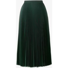 Prada pleated a line skirt ($1,845) ❤ liked on Polyvore featuring skirts, high waisted skirt, high-waisted skirts, fold-over maxi skirts, mid length pleated skirt and zip skirt