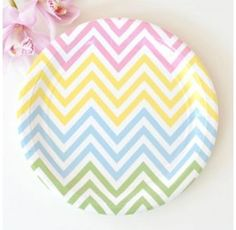 These gorgeous chevron pastels party plates by Illume Design are sure to delight.    #party #balloons #pastels #confetti #mini #designerkids #partydecor #theme #partysupplies #designerbaby #summer #partydecor #firstbirthday #events #styling #giantballoon #centrepiece #events #styling #etsy #babyshower #bridalshower #kidsstyle #kidsfashion #kids #baby #toddler #littlebooteekau