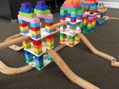 A parents' guide with tips and tricks for building with Dreamup Toys Wooden Railway Block Platforms, wooden train tracks, DUPLO blocks, and LEGO bricks. Lego For Kids, Diy For Kids, Crafts For Kids, Indoor Activities, Toddler Activities, Lego Challenge, Wooden Train, Lego Projects, Lego Building
