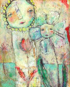 Whimsical Owls and Other Mixed Media Art From the Heart by Juliette Crane: NEW Mixed Media Painting - TOGETHER