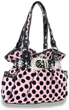 Amazon.com: Rhinestone Buckle Polka Dot Fashion Handbag Pink: Clothing