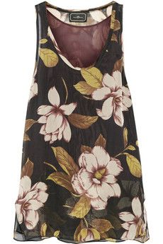 By Malene Birger Amandan Floral-print Silk Crepe De Chine Top - Black Floral Tops, Floral Prints, Online Shops, Black Sleeveless Top, Malene Birger, Trends, Discount Designer Clothes, Silk Crepe, Black Silk