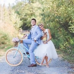 Ivory tulle skirt, baby blue bicycle, romantic moment, couple photoshoot, so…