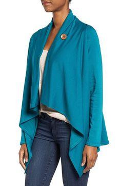 Main Image - Bobeau One-Button Fleece Wrap Cardigan (Regular & Petite)