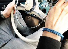 www.877workshop.com — Men's bracelet Cross braided sailing rope blue