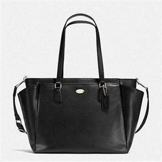 Coach Black Crossgrain Leather Multipurpose Baby Diaper Bag Work Tote Travel XL #Coach #BabyDiaperBagToteMultipurpose