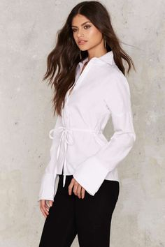 Full Moon Tie Blouse - Clothes | Blouses | Button Down