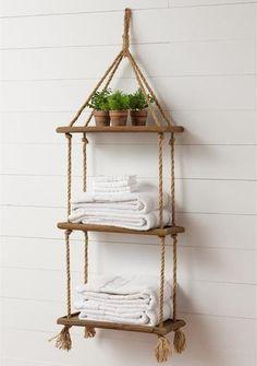 Hanging Rope Shelves, Plant Shelves, Ladder Shelf Diy, Ladder Decor, Wooden Decor, Wooden Diy, Wooden Bathroom Shelves, Diy Wooden Shelves, Wooden Shelf Design