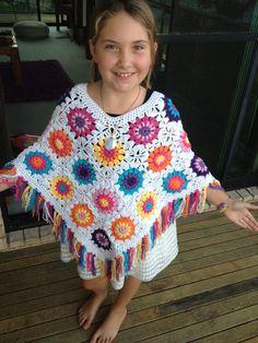 Granny Flower Power Poncho Pattern by Westykazz on Etsy, $5.00