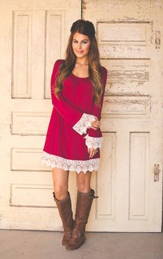 So cute!! Crochet Sleeve Tunic- Wine - Dottie Couture Boutique
