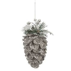 Use silver pinecones green and white
