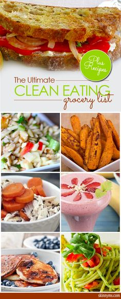 Healthy eating starts with stocking your kitchen and pantry with the right foods. We\u2019re sharing the ultimate clean eating grocery list, 50 of the foods that will put you on the path toward the positive change you deserve. #cleaneating #grocerylist #healthyrecipes #weightloss