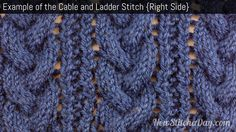 Example of the Cable and Ladder Stitch Right Side