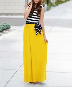 So Perla Mustard Stripe & Polka Dot Maxi Dress | zulily