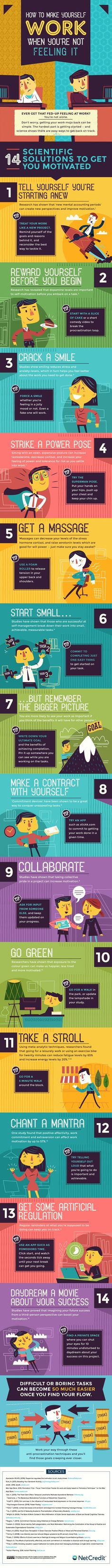 How to Make Yourself Work When You're Not Feeling It - #infographic Motivation For Work, Motivation Inspiration, College Motivation, Career Inspiration, How To Motivate, Motivate Yourself, How To Focus, How To Achieve Goals, How To Improve Yourself