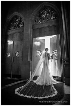 Dramatic bridal portrait in church door
