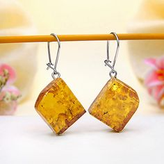 Baltic Amber Hook With Lock Earrings