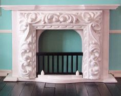 Knotty By Nature: Dollhouse Fireplace idea -- Made from a decorative frame