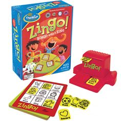 Zingo! and over 7,500 other quality toys at Fat Brain Toys. This fast-paced, energetic variation of Bingo is a guaranteed crowd-pleaser. Kids get a kick out of pulling the Zinger forward to reveal two mystery tiles. Be the first to fill up your entire card and you win!