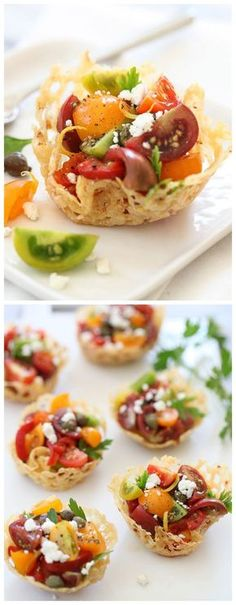 Heirloom Tomatoes in Fried Parmesan Cheese Cups are a delicious summer #appetizer #recipe on foodiecrush.com #tomatoes