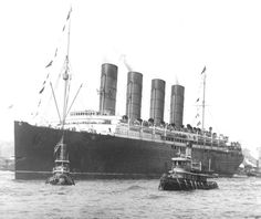 September 13, 1907: Lusitania arriving in New York on her maiden voyage.