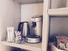 Every morning we bring you a complete breakfast, during the day you can make your own coffee and tea!