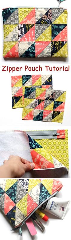A zippered pouch / cosmetic bag is a quick but satisfying project. DIY Photo Tutorial.  http://www.handmadiya.com/2015/10/patchwork-zipper-pouch-key-fob-tutorial.html