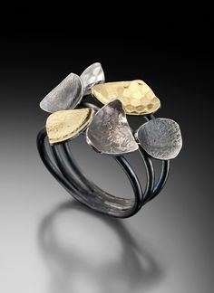 Ring | LORI GOTTLIEB-USA 'Aquatic Life & Raindrops Series'. Silver, 22k bimetal