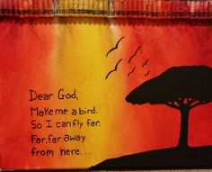 Crayon melting art. Sunset with a tree silhouette. The quote is from Forrest Gump. DIY follow me or my art board for more original crayon meltings all done by me