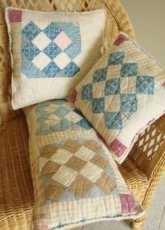 I recently found an old, faded and torn quilt at an antique store and restored it back to life by making it into these charming pillows. I carefully chose the best sections of the quilt, hand washed them and started my journey.    In designing these pillows I decided to leave the batting and fabric edges raw, or unfinished, along the outside of each of the 3 pillows to further give them a folk or vintage look. Each of the pillows are firmly stuffed with fresh new fiberfill.    No need to use…