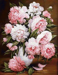 Розовые пионы в вазе, предпросмотр