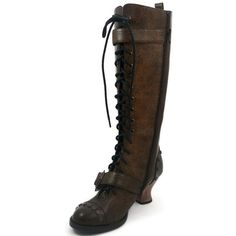 HADES Steampunk High Heel Womens Knee Laceup Retro Boot VINTAGE Brown #HadesFootwear #Boots