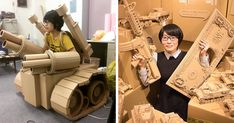Japanese Cardboard Artist Turns Old Amazon Boxes Into Tanks, Food And Other Incredible Sculptures | Bored Panda
