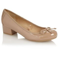 Beige Patent Low Block Heel Shoe With Bow ($35) ❤ liked on Polyvore
