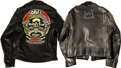 Schott's recent collaboration with Shepard Fairey (left); a vintage Perfecto embellished by Jean-Michel Basquiat. Schott Jacket, Shepard Fairey Art, Japanese Kids, Mulberry Street, Andre The Giant, American Motorcycles, Jean Michel Basquiat, Native American Women, Riding Gear