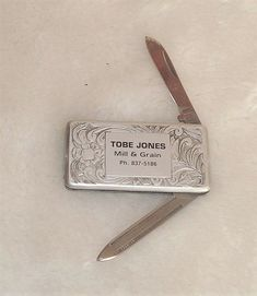 Vintage Park Pen Knife Japan Tobe Jones Mill & Grain Etched Design W/ Belt Clip #Park