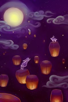 Leaping to the moon by Chukairi.deviantart.com on @deviantART Write a story about a girl who sees these little bunnies hopping their way to paradise. She follows the,. Where does she follow them to exactly?