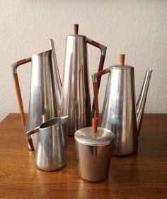 Royal Holland Pewter Daalderop pitcher watering can vase barware modern midcentury teak handle serve ware sustainable style design art metal by modernarchaeology1 on Etsy