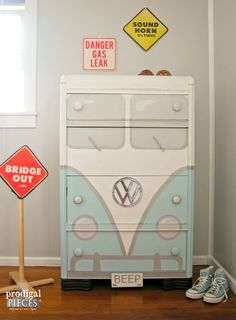 Volkswagon bus dresser, by Prodigal Pieces, featured on Funky Junk Interiors