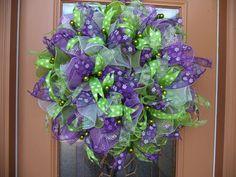 Apple <b>Green</b> and <b>Purple</b> Spring <b>Deco</b> <b>Mesh</b> <b>Wreath</b> by DecoDzigns, $75.00