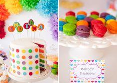 Rainbow Dessert Table and Rainbow Cake