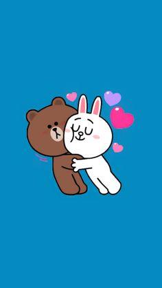 Kitty Wallpaper, Cartoon Wallpaper, I Wallpaper, Cony Brown, Cute Bear Drawings, Gifs, Brown Line, Cute Love Gif, Bunny And Bear