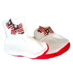 White and Blue Booties 5 Preemie and Newborn Sizes Unisex Baby USA Red