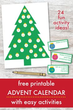 Use this free printable Christmas Tree Advent Calendar to countdown to Christmas with 24 fun and easy Advent activities for children.