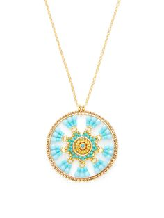Beaded Disc Pendant Necklace by Miguel Ases at Gilt