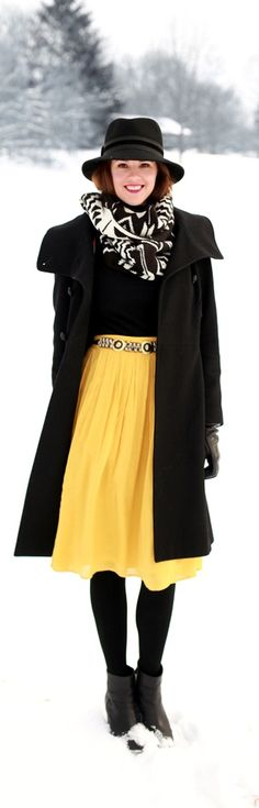 How to wear midi skirt in winter