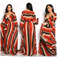 New stunning full sweep faux wrap maxi dress. The top part is unlined but there is a half skirt lining underskirt. Fit and flare silhouette Cappuccino in color with pin stripes. African Dresses For Kids, African Wear Dresses, Latest African Fashion Dresses, African Print Fashion, Plus Size Maxi Dresses, Large Size Dresses, Plus Size Outfits, Maxi Outfits, Fashion Outfits